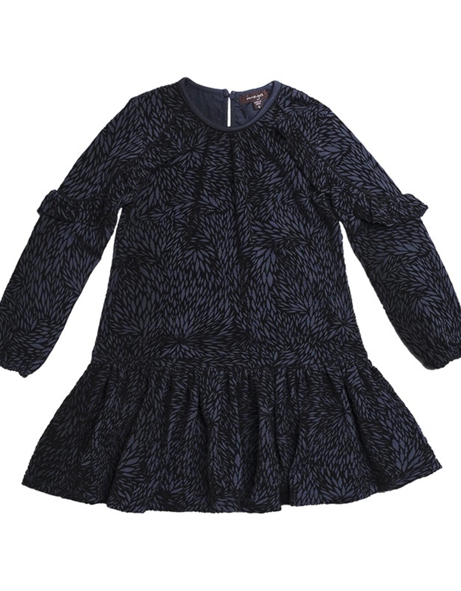 Girls Flocked Black Grey Leaves Print Dress