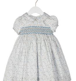 Luli Blue Grey Floral Calico Print Smocked Dress