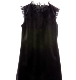 Luli Black Velvet Dress with Black Tulle Dotted Ruffles