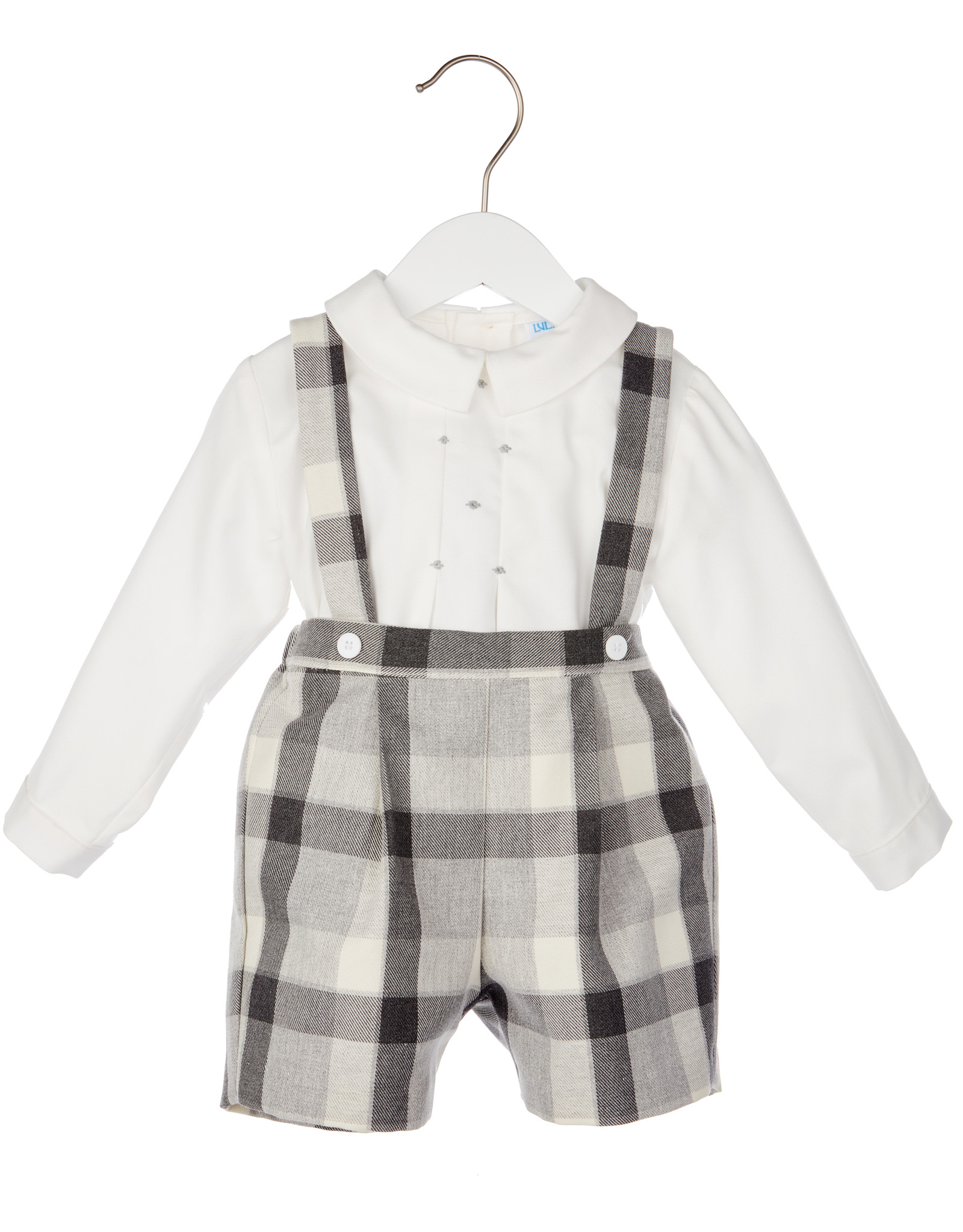 Luli Grey Plaid Suspender Short w/Smock Shirt