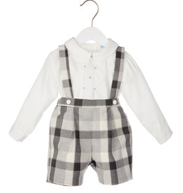 Luli Grey Plaid Suspender Short w/Smock Shirt