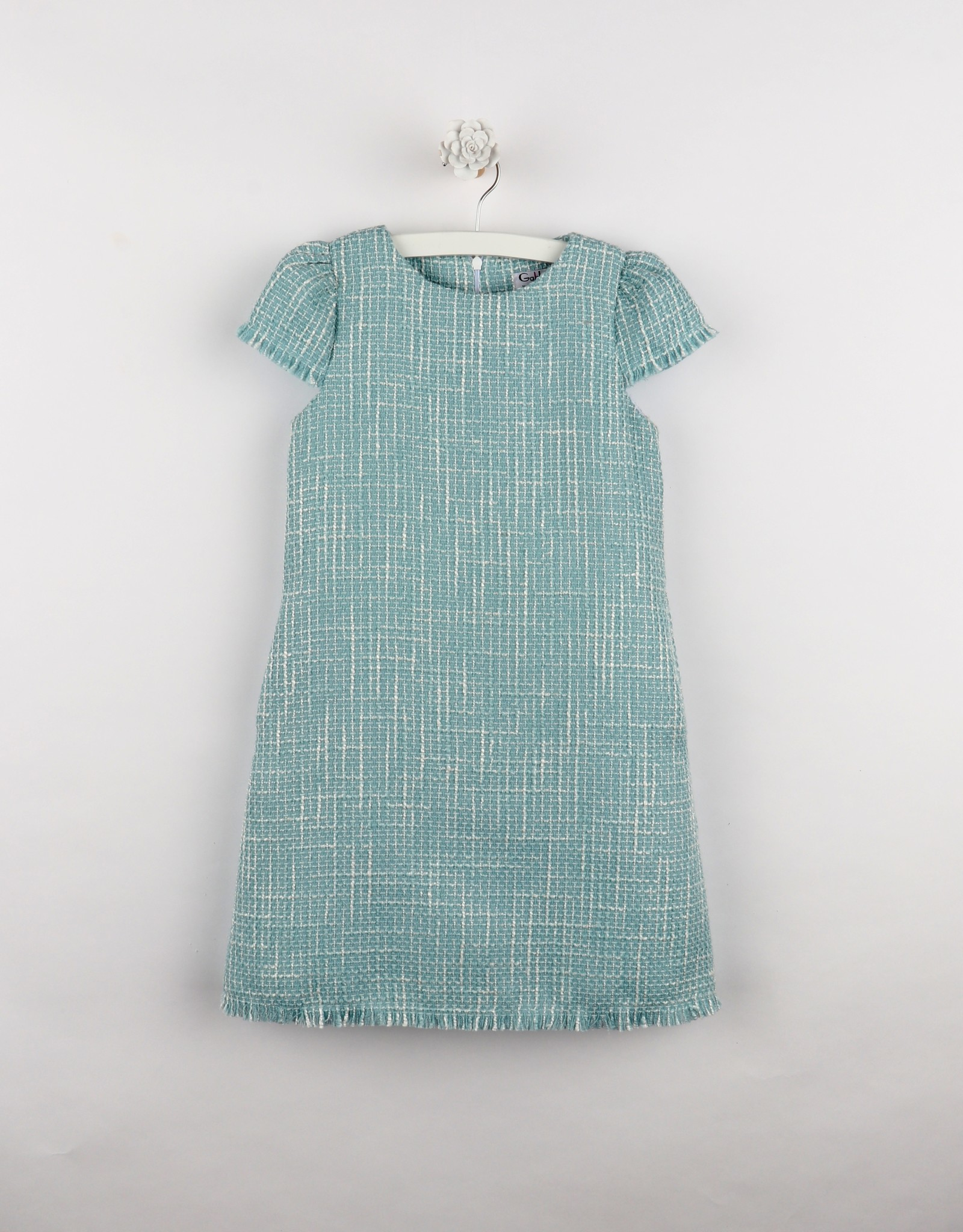 Luli Blue Boucle A-line Dress w/Fringe Hem