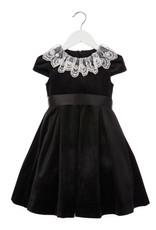 Luli Black Velvet Dress with White Lace Collar