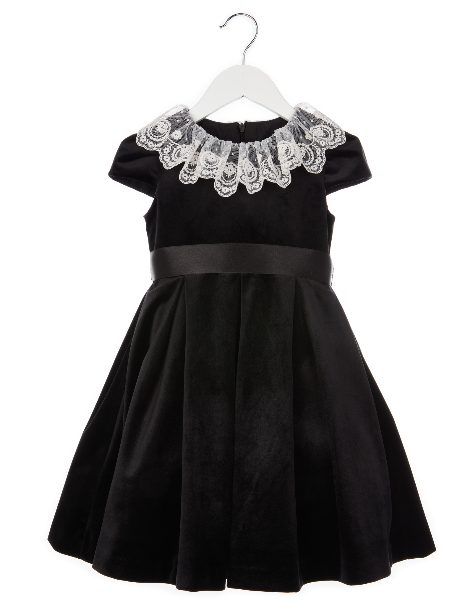 Luli Black Velvet Dress with White Lace Collar