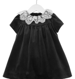 Luli Black Velvet Float Dress with Lace Collar