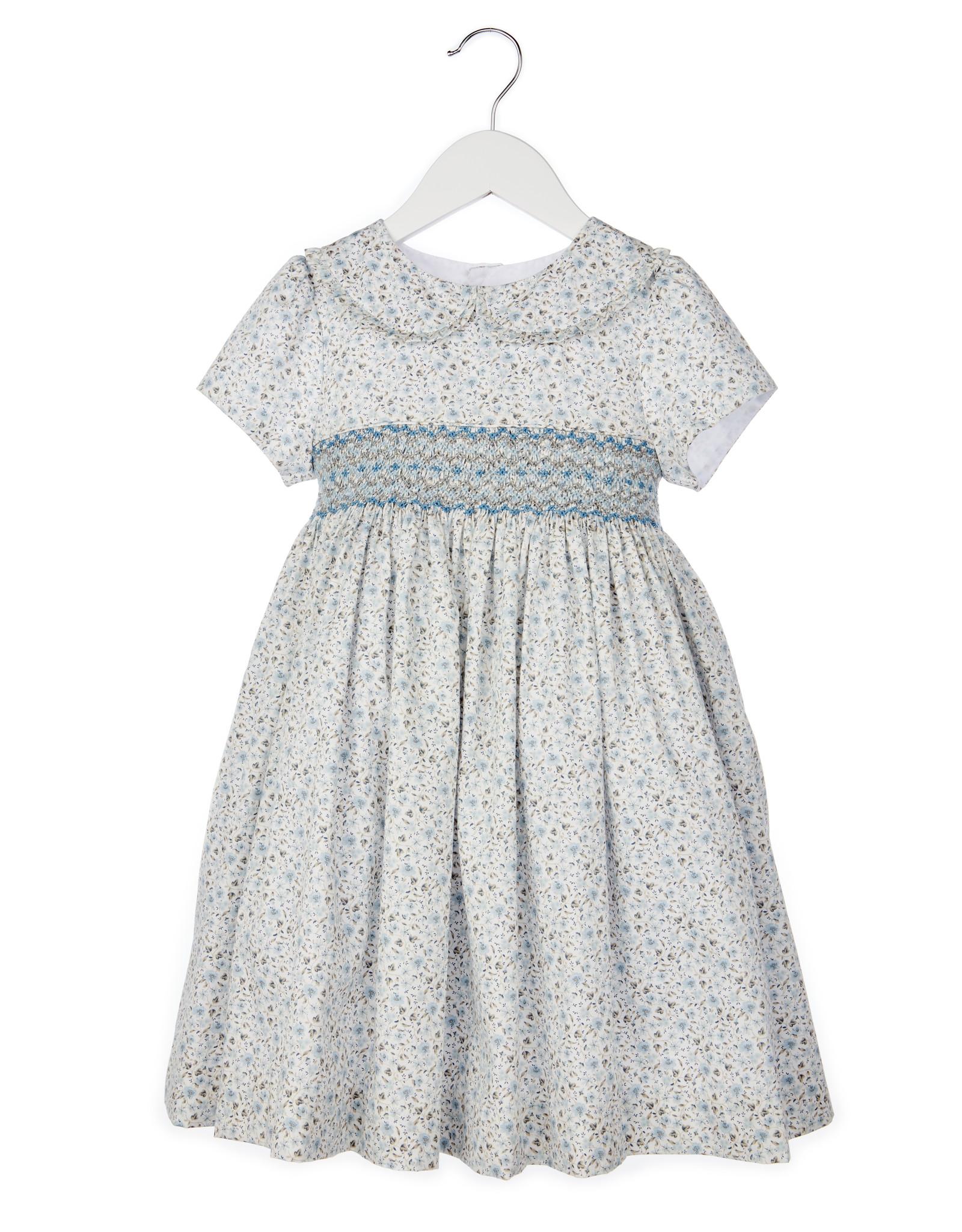 Luli Blue Grey Calico Print Smocked Dress