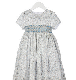 Luli Blue Grey Calico Print Smocked Dress 6855