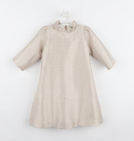 Gabby Gold Houndstooth A-line Ruffle Neck Dress with Bow Back