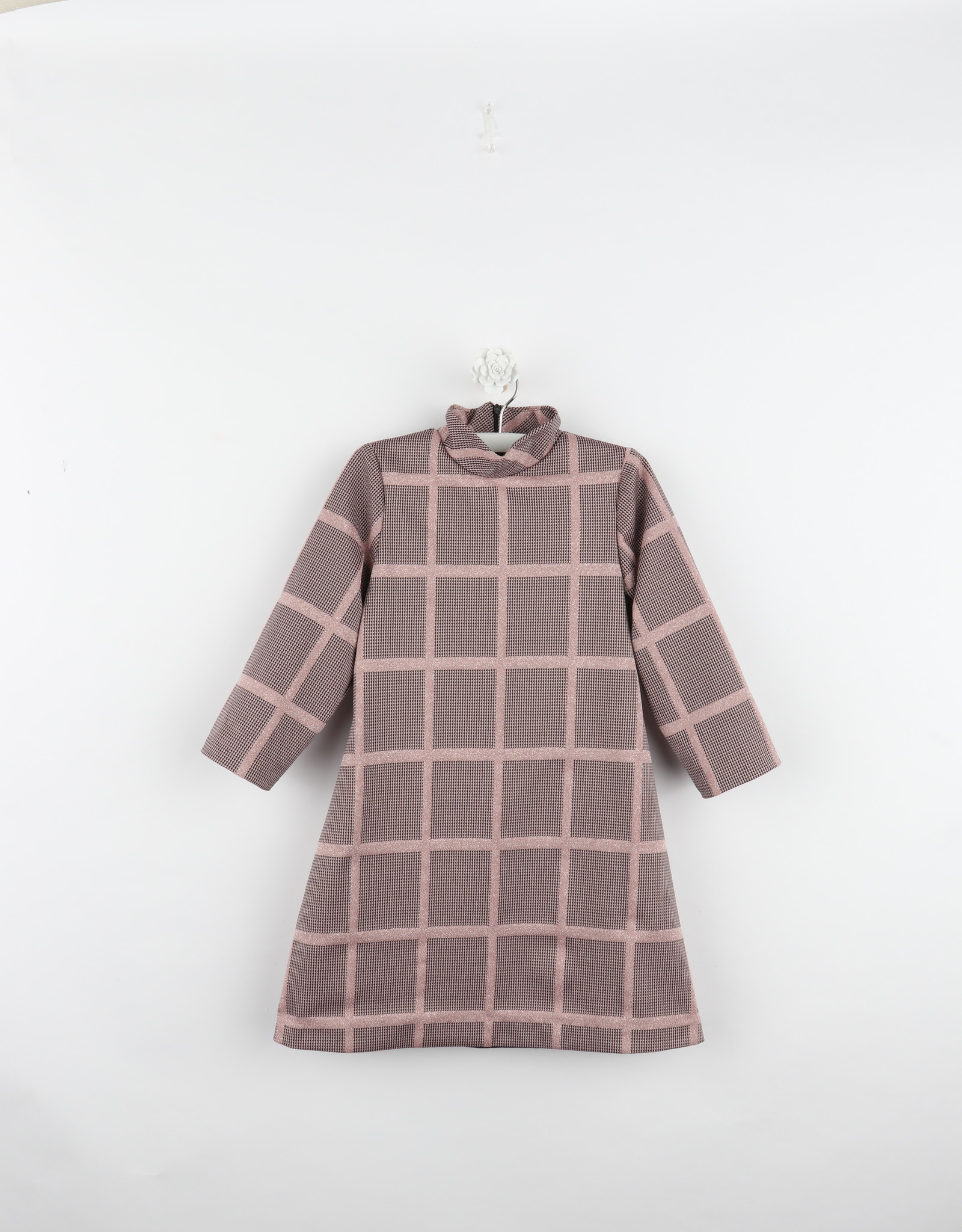 Gabby Rose Windowpane Knit Dress with High Neck