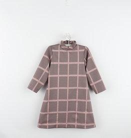 Gabby Rose Windowpane Knit Dress with High Neck