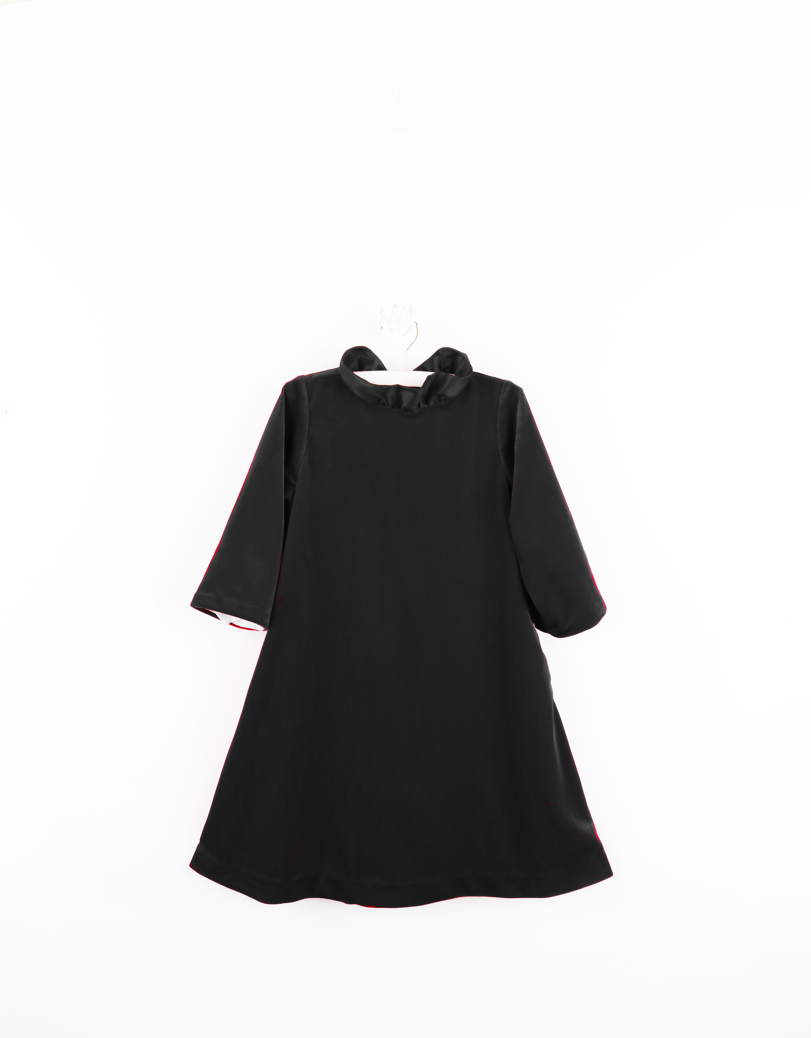 Gabby Black Velvet A-line Dress with Ruffle Neck and  Bow Back