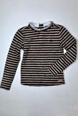NONO Fuzzy Taupe Black Stripe with Ruffle Edge