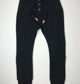 NONO Black Knit Jogger with Buttons Draw String