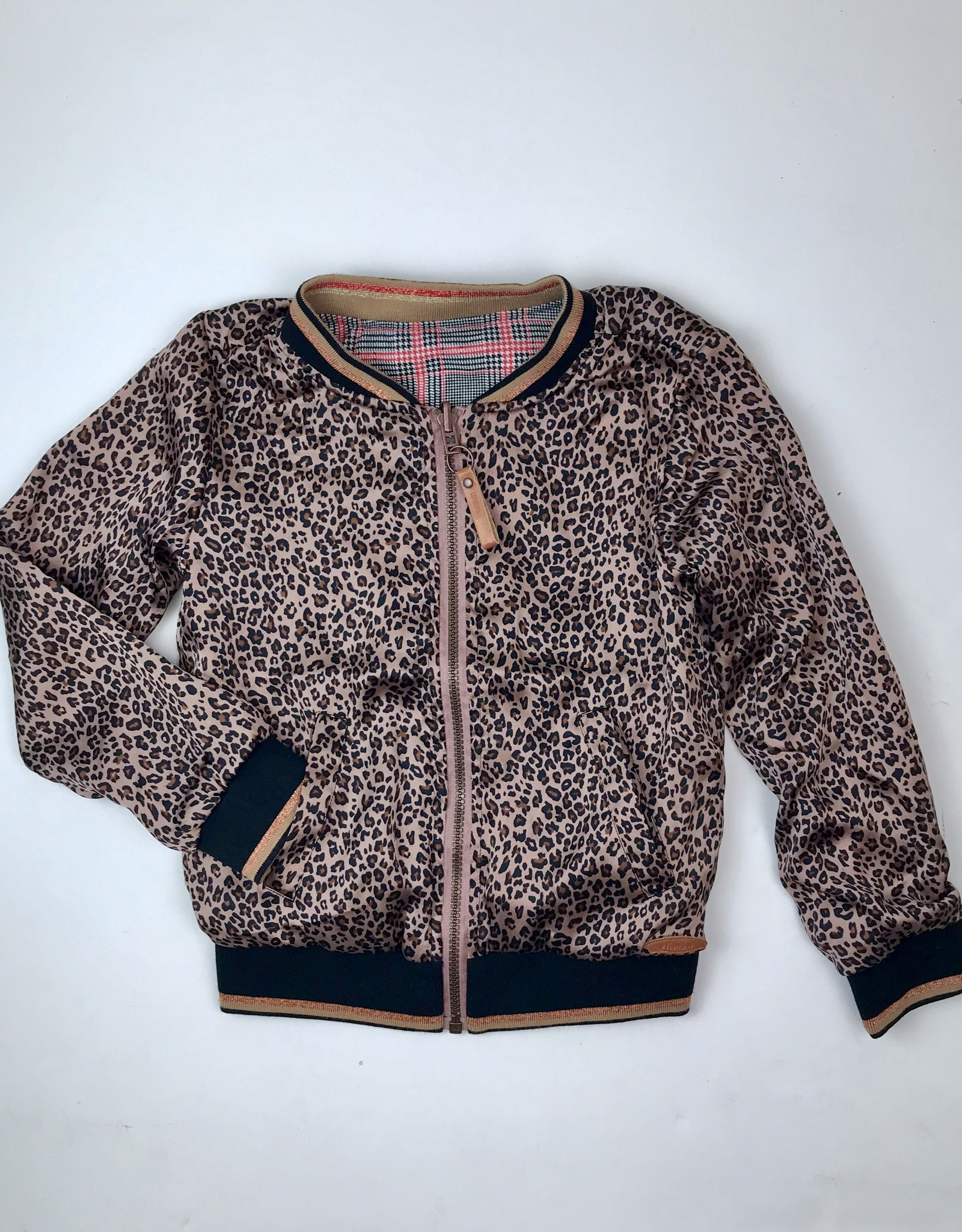 NONO Bomber Rose Leopard Reverse to Red Plaid