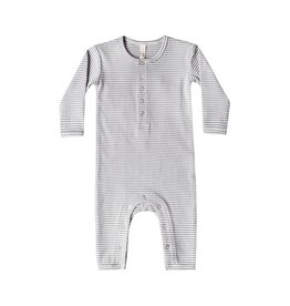 Quincy Mae Grey Ribbed Stripe Romper