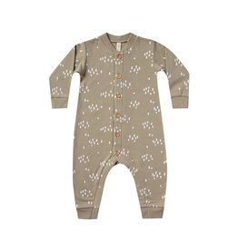 Quincy Mae Olive Fleece Tree Print Romper