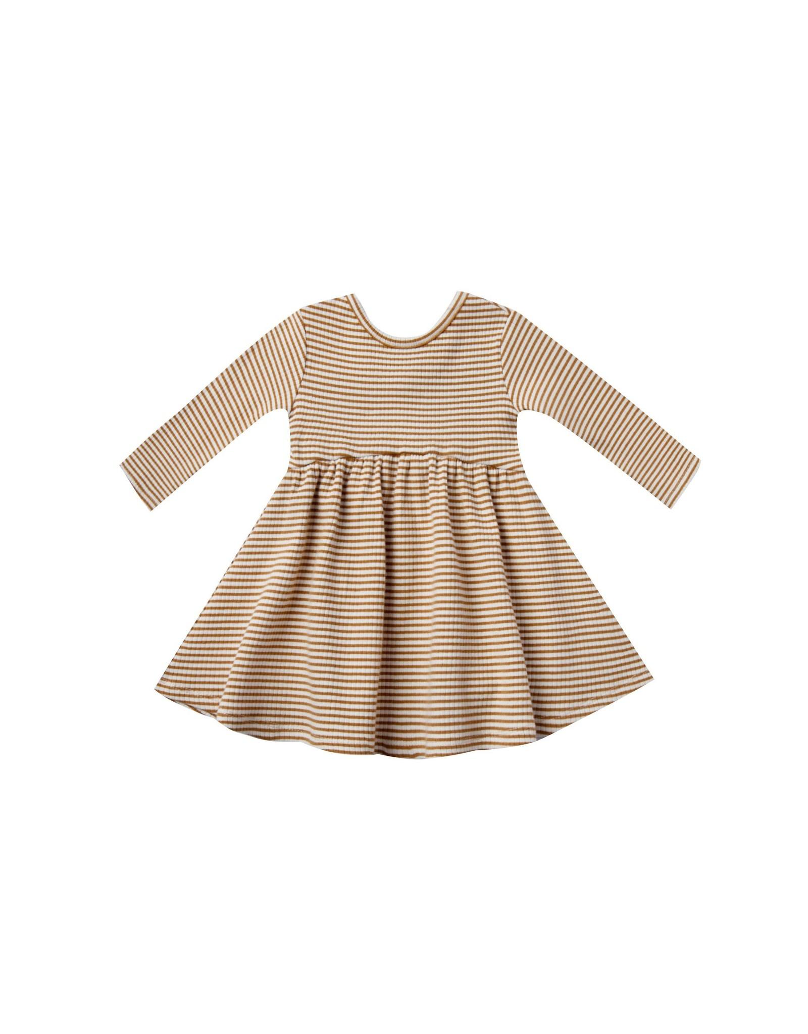 Quincy Mae Walnut Stripe Ribbed Dress
