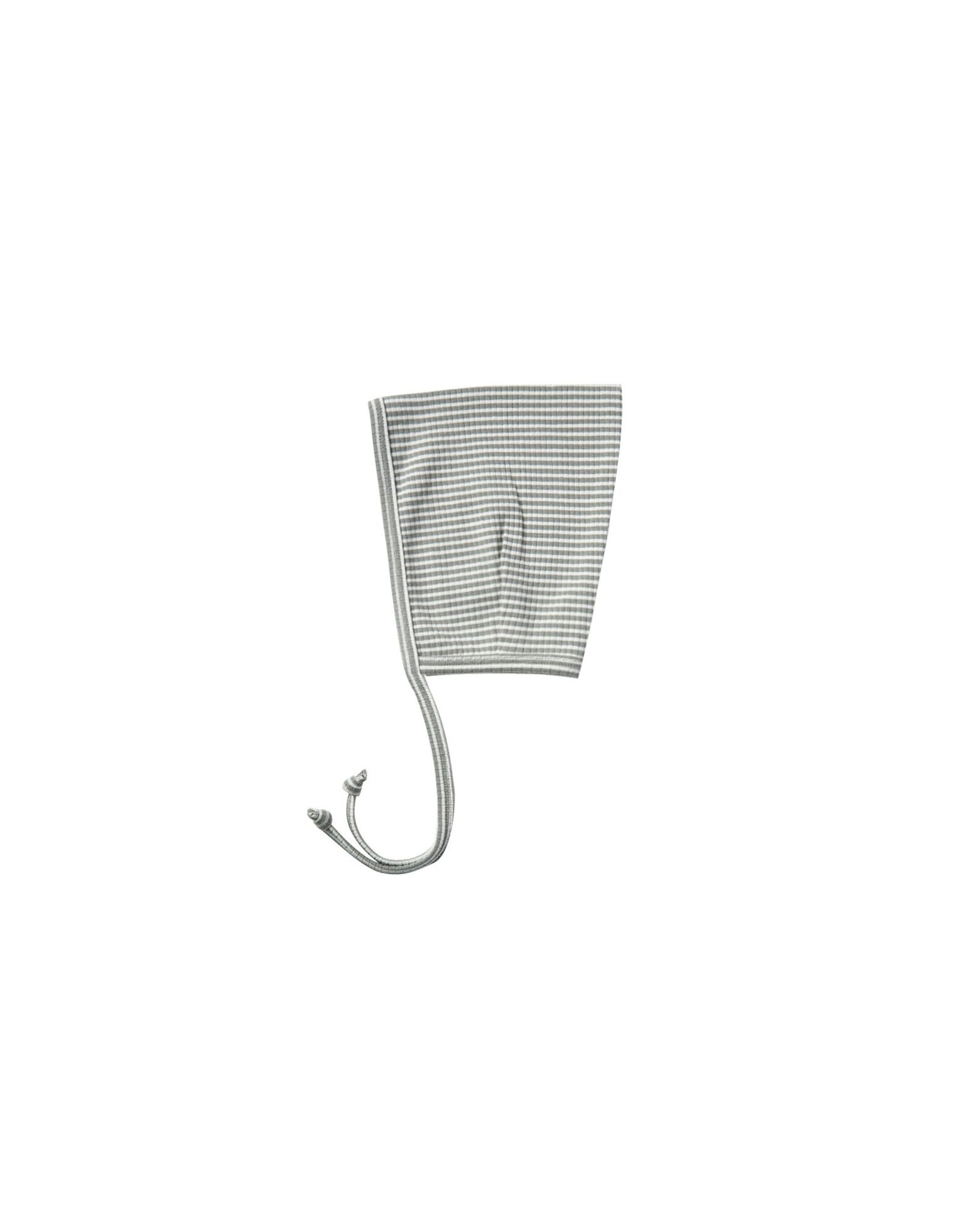 Quincy Mae Grey Stripe Ribbed Bonnet