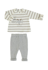 Mayoral Infant Taupe Reindeer Stripe top and knit pant