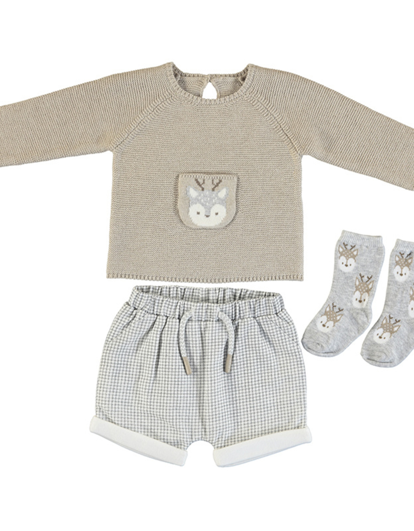 Mayoral InfantTaupe Reindeer Sweater with Check  Short