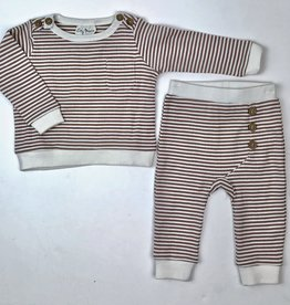 City Mouse Infant 2pc Jogger Set Hazlenut Stripe
