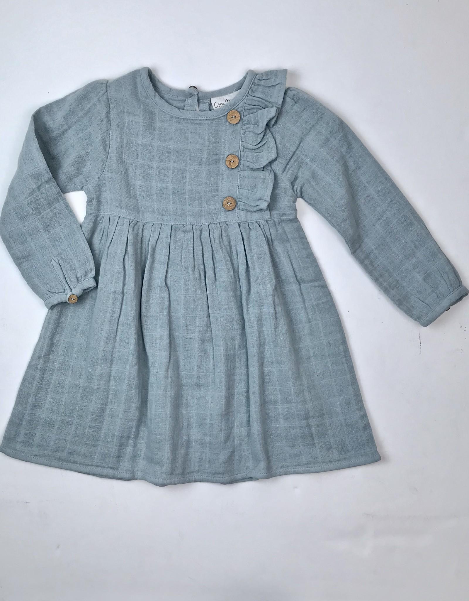 City Mouse Aqua Blue Side Ruffle Gauze Dress
