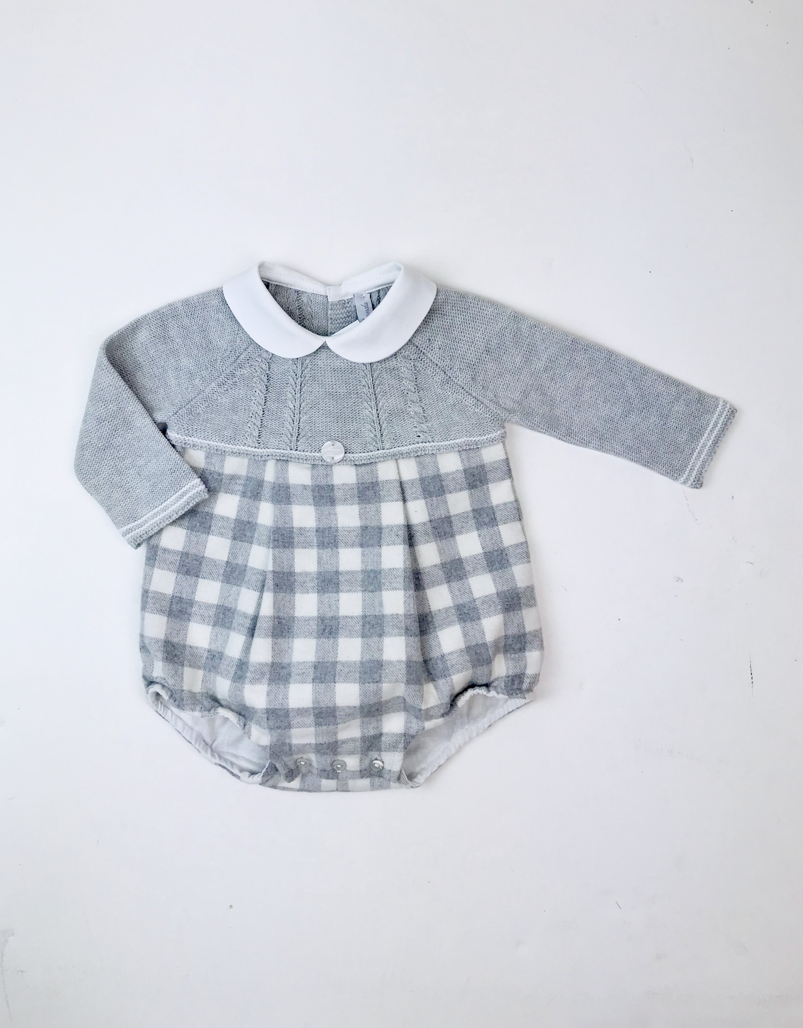 Martin Aranda Infant Grey Knitted and   Flannel Check Romper