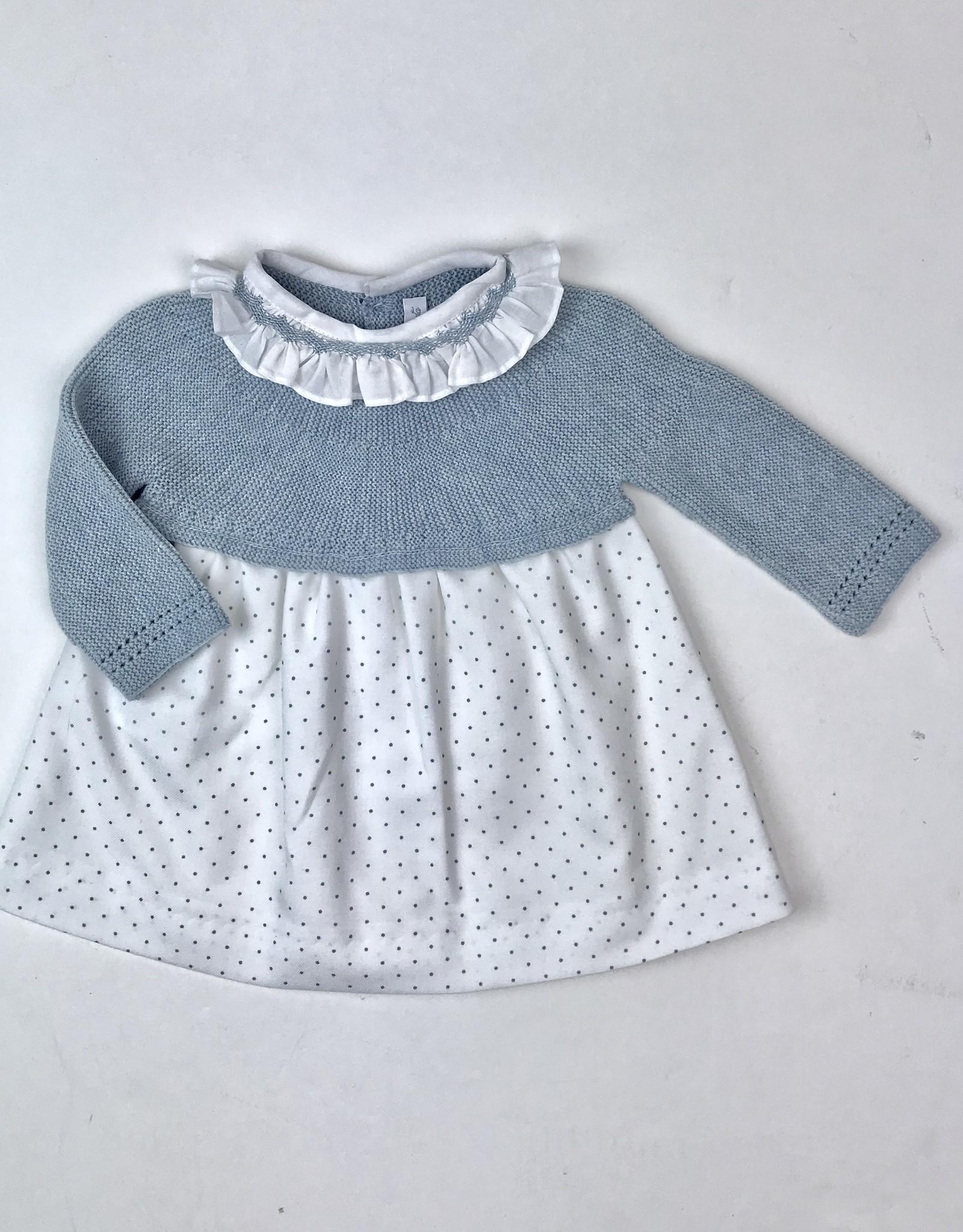 Martin Aranda Infant Heather Blue Knitted Dress with Dot Skirt