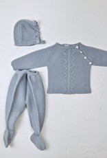 Juliana Lt Grey knitted cable footie set with bonnett 2054