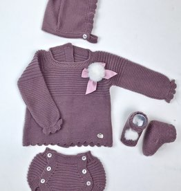 Juliana Plum Knitted 3pc Bloomer Set w/fur Pom and Bootie