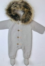 Martin Aranda Heavy knit Romper with fur trim hood 10007