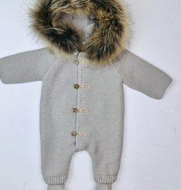 Martin Aranda Heavy knit Romper with fur trim hood 10007