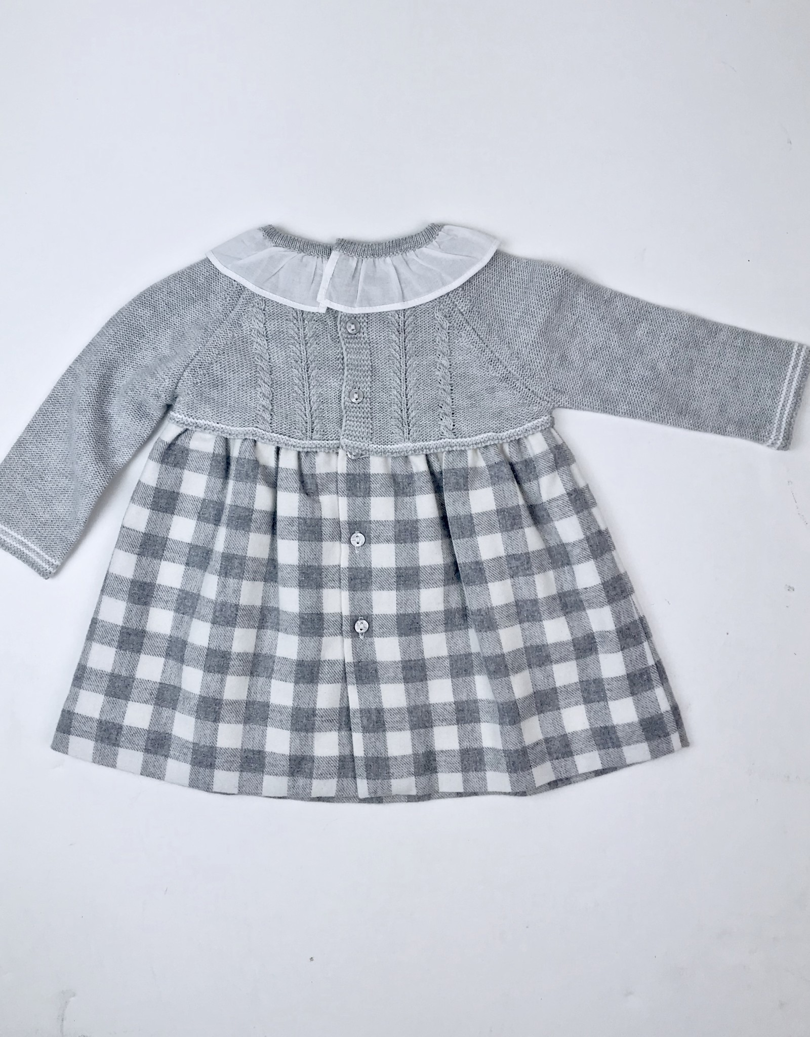 Martin Aranda Grey Knitted and Flannel Check Dress