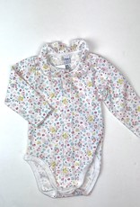Petit Bateau Infant Pink Floral L/S Onesie with Ruffle Collar