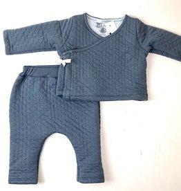 Petit Bateau Slate Blue Quilted Kimono Set