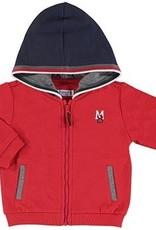 Mayoral Red Zip Jacket w/ Navy Hood
