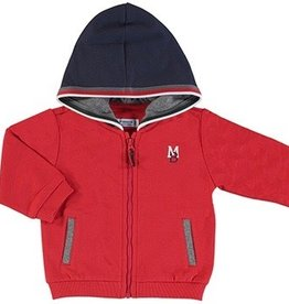Mayoral Red Zip Jacket w/ Navy Hood