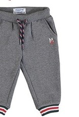 Mayoral Grey Fleece Jogger Pant w/ Stripe Cuffs