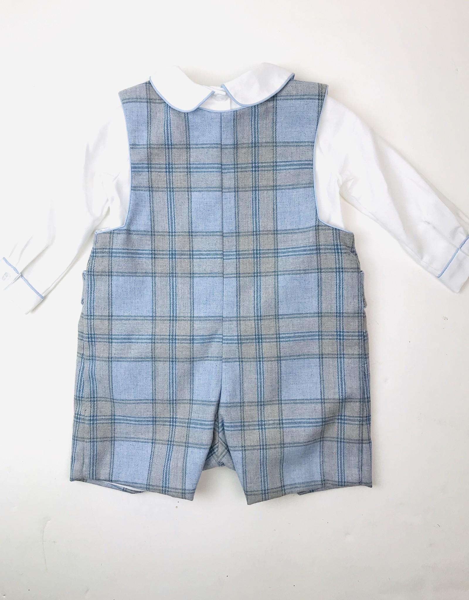 Anavini Little BoysBlue Flannel Plaid Shortall & Shirt