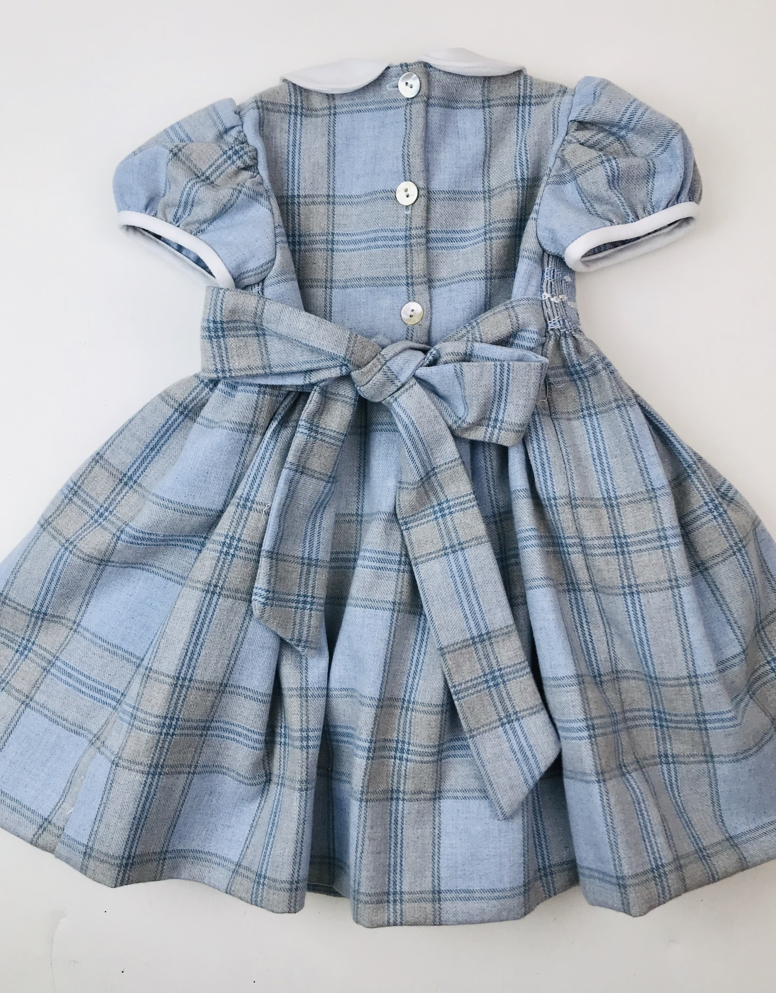 Anavini Little Girls Blue Flannel Plaid Smocked Dress