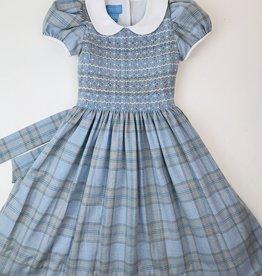 Anavini Girls Blue  Flannel Plaid Smocked Dress