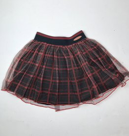 NONO Big Girls Red Black Plaid Mesh Skirt