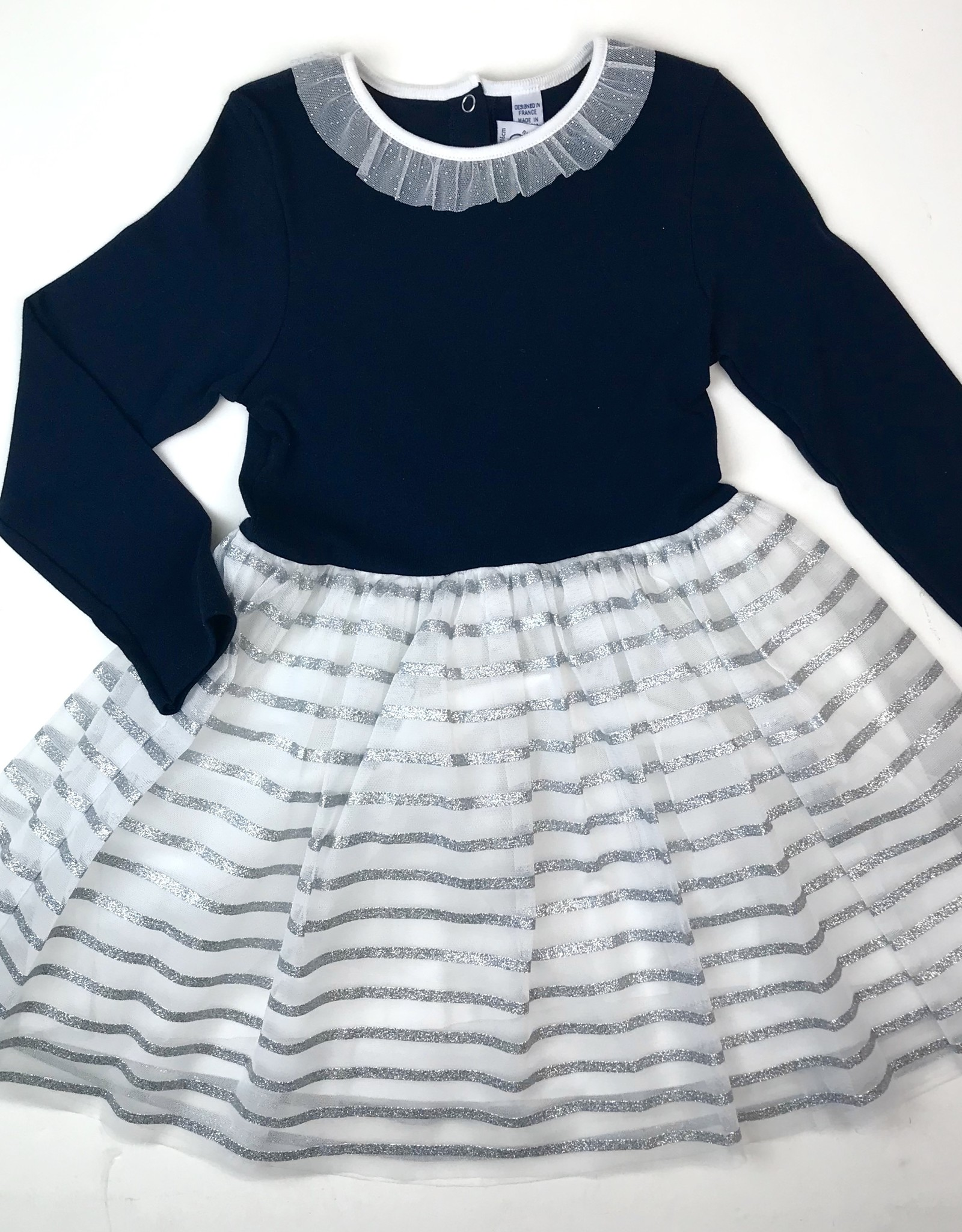 Petit Bateau Girls Navy Dress With Silver Striped Tulle Skirt