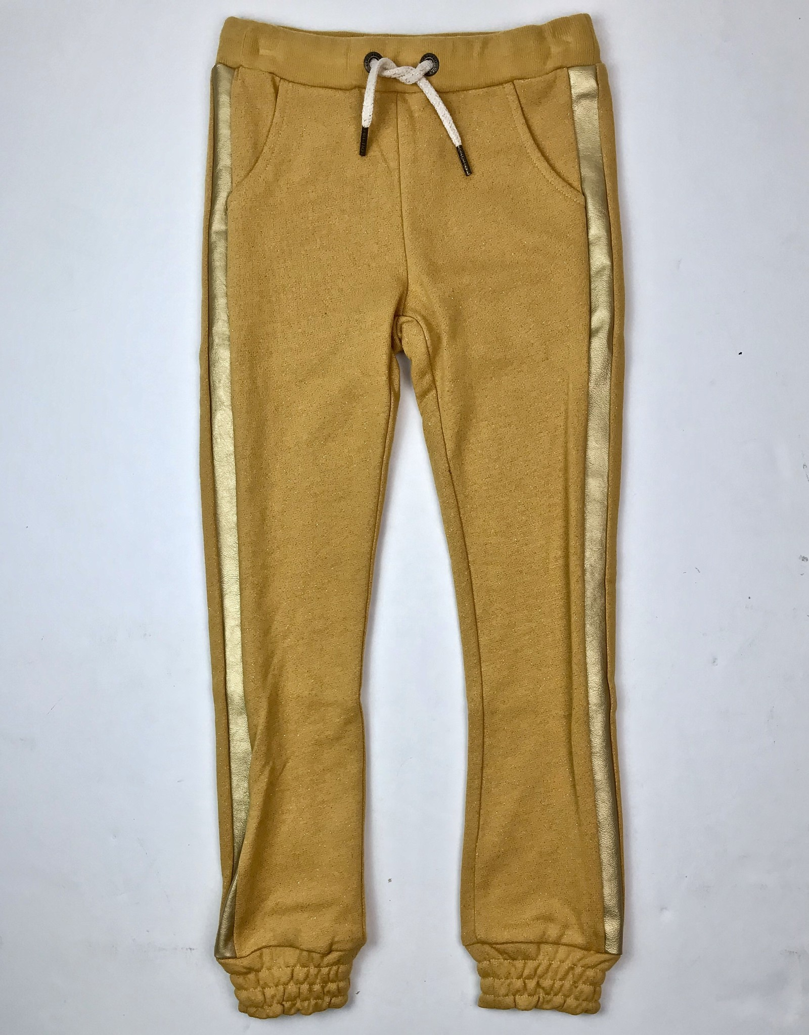 Like Flo Girls Mustard Jogger With Gold Side Stripe