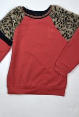 NONO big Girls Red Sweat Shirt With Leopard Shoulder
