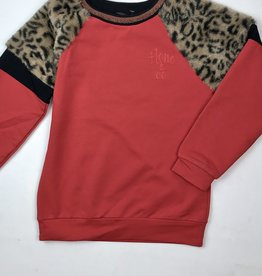 NONO Big Girls Red Sweat Shirt With Leopard Shoulder