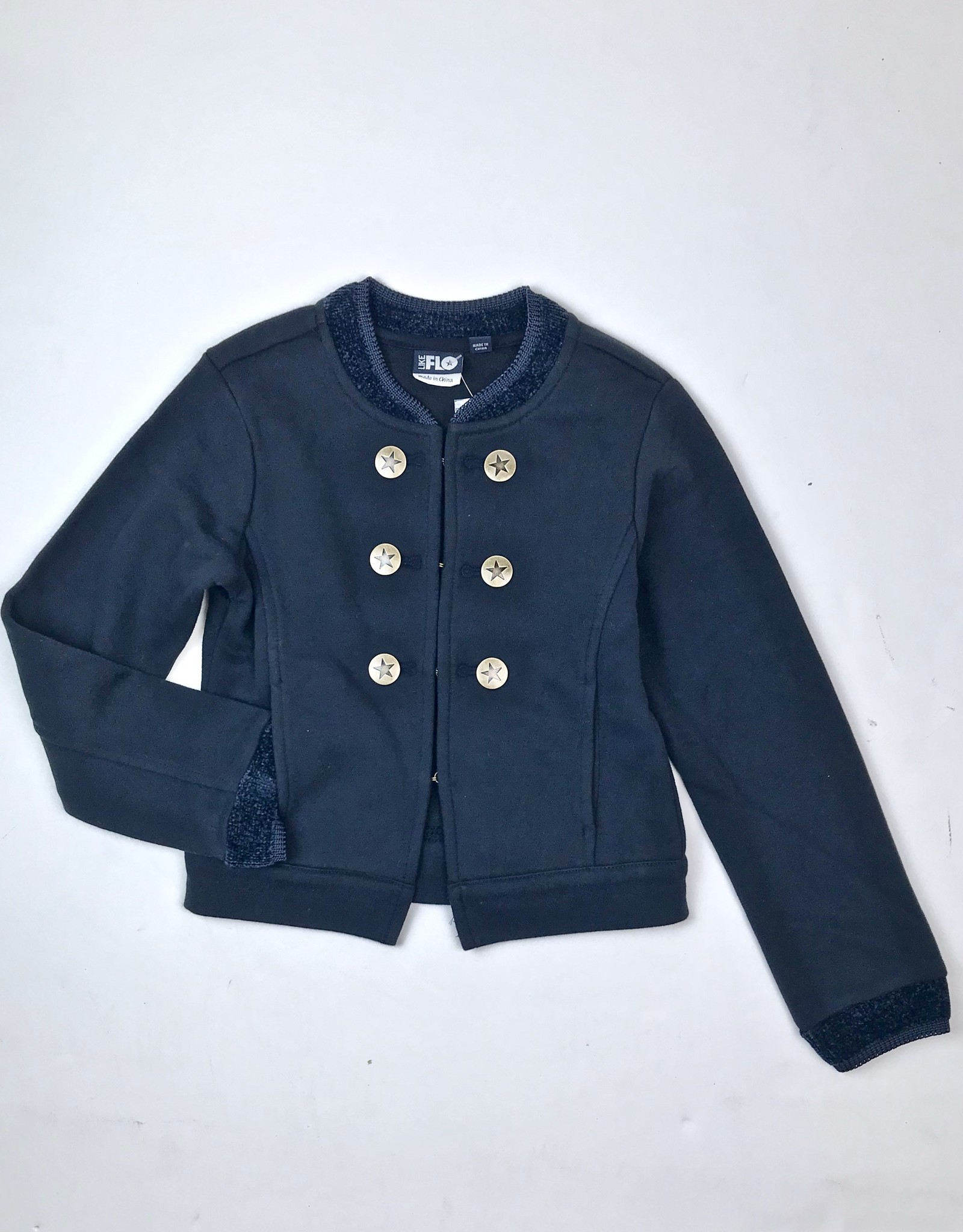 Like Flo Girls Navy Knit D/B Jacket With Chenille Trim