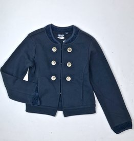 Like Flo Navy Knit D/B Jacket with Chenille trim 5302
