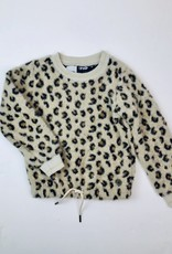 Like Flo Girls Beige Leopard Furry Pullover