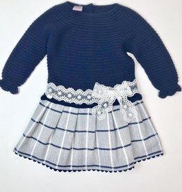 Juliana Girls Navy Dress Knit Top Plaid Skirt
